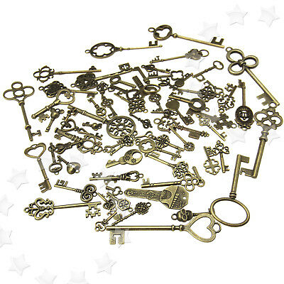 70pcs Antique Vintage Bronze Old Fashion Keys  Pendants Decor Gift TX US