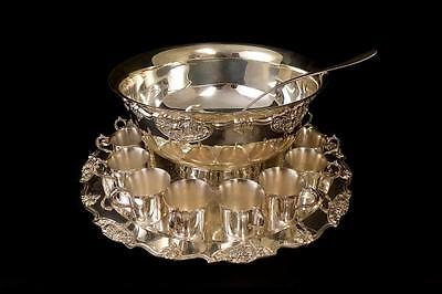 """Harvest By Wallace Silver Plated 15"""" Punch Bowl W/ 12 Cups And Ladle"""