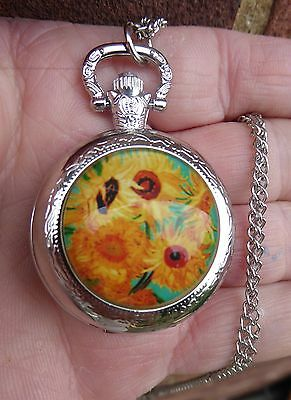 silver necklace pendant locket quartz watch 2017 Van Gogh Sunflowers