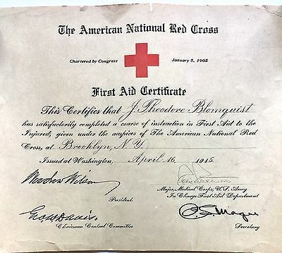 Vintage 1915 World War 1 American National Red Cross First Aid Certificate
