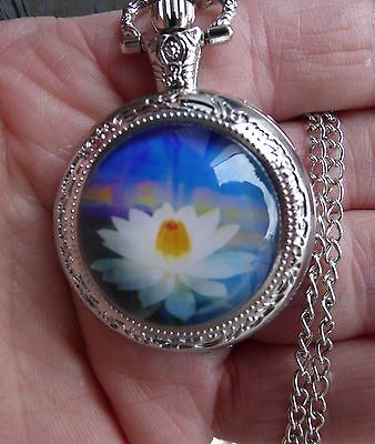 silver necklace pendant locket watch 2017 lotus flower vintage