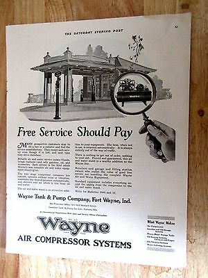 1921 Wayne Service Station Air Compressor Systems Print Ad 6 x 14 in