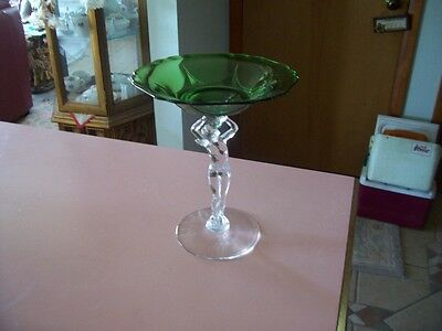 """Cambridge green clear nude stem 8"""" tall comport"""