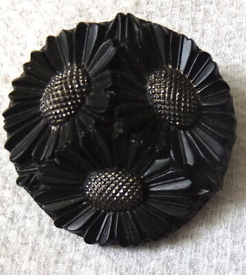 Antique Nice Lg Engraved Black Glass Mourning Brooch Daisy Design