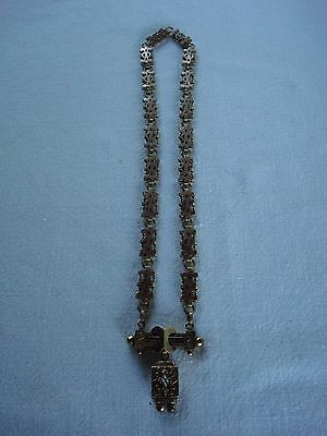 Dated 1871 Victorian Brass Chain Necklace W/ Seed Pearls