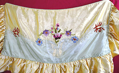 STUNNING L 20s Handmade Pillow Cover Silk Rayon Pastel Floral Embroidery Flapper