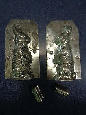 """Vintage Small Easter Bunny Rabbit Metal Chocolate Candy Mold ~ 2 Clips ~ 4 1/4"""""""