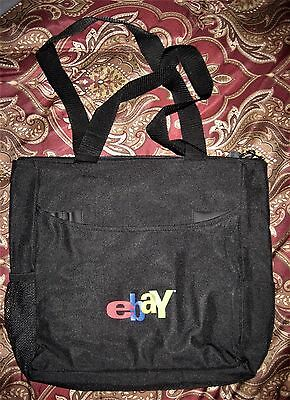 "eBay Black Zippered Tote Bag (old logo) -- Brand new--13"" x 13"""