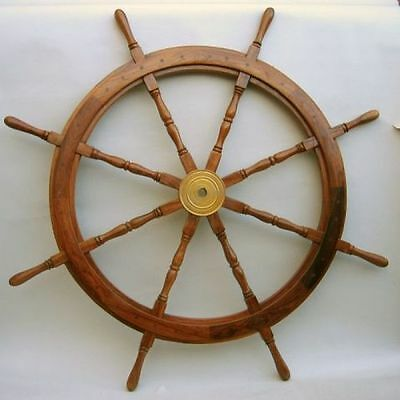 """48"""" Wooden Ship Wheel With Brass Hub~ Boat-Home Decor ~ Teak Wood-Pirate"""