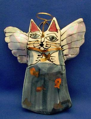Cat Angel Teal Hand Crafted Pottery Ornament
