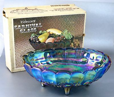 Vintage INDIANA Harvest Grape IRRIDISCENT BLUE CARNIVAL GLASS FOOTED BOWL W/BOX