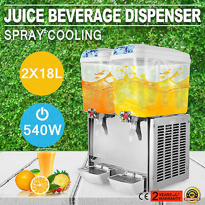 New Orange Juice Cold Beverage Dispenser Machine 2 Tank Commercial