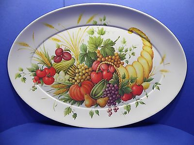Vintage Brookpark Meat Platter Melamine Turkey Cornucopia Horn of Plenty