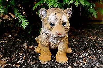 BABY TIGER FIGURINE STATUE RESIN PET  Jungle Animal Ornament New  Striped