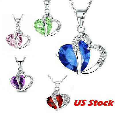 Fashion Women Heart Crystal Rhinestone 925 Silver Chain Pendant Charm  Necklace