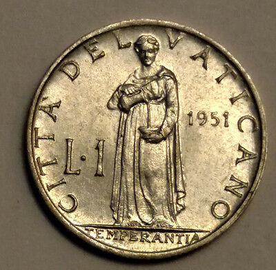 1951 1 Lire Coin of The Vatican City