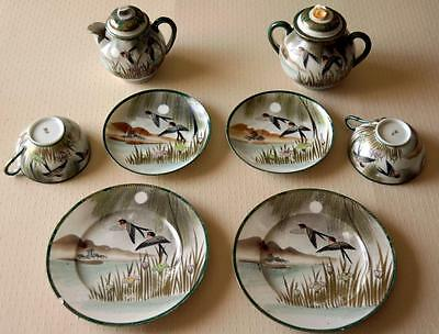 Antique Japanese HP Kutani Tea Set 10pc Swallows Iris Willow Moriage Gold Detail
