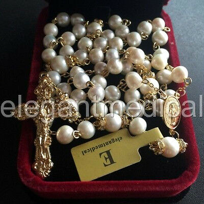 Catholic Gold 8Mm Real Pearl Beads Necklace Rose Rosary Cross/Crucifix Gift Box