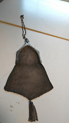 ANTIQUE Vintage WHITING & DAVIS STERLING SILVER MESH WRISTLET FLAPPER PURSE