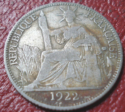 1922-A French Indochina 20 Cents In Vg-Fine Condition (.680 Silver)