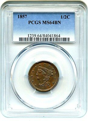 1857 1/2c PCGS MS64 BN - Slightly Better Date - Half Cent - Slightly Better Date