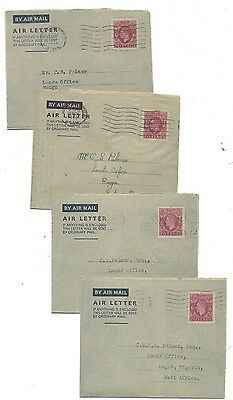 1947- 48 - 49 KGVI 6d Air Letters United Kingdom to Nigeria
