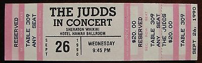 Unused Concert Ticket for The Judds at the Hawaii Ballroom on September 26, 1990