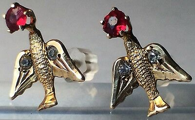 Vintage 14k Yellow Gold Children's Bird Earrings With Red and White Stones