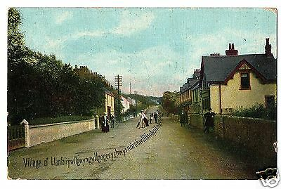 HRB Early Postcard, Street Scene, Llanfair, Anglesey - faults