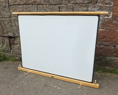 """GNOME Wood Frame PROJECTION Portable PROJECTOR Screen FLOOR Standing VINTAGE 49"""""""