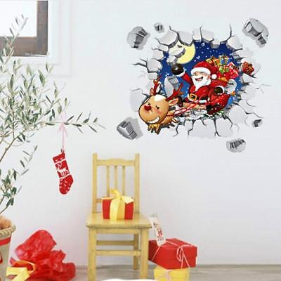 3D Wall Sticker Christmas Santa Claus Adhesive Stickers Decal Home Xmas Gifts CB
