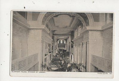 Blenheim Palace Interior of Library Vintage Postcard Taunt 703a