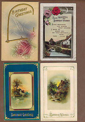 BIRTHDAY GREETINGS: Collection of 20 Scarce EMBOSSED Antique Postcards (1909)