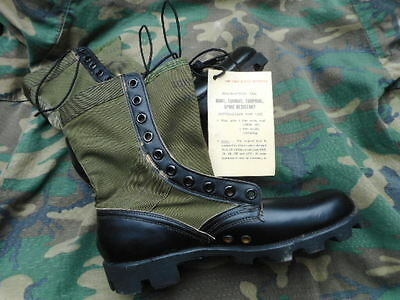 ORIGINAL vintage 1970 US ARMY ISSUE VIETNAM PATTERN JUNGLE BOOTS USA NEW UK 9