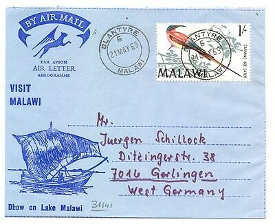 Malawi 1969 Aerogramme With  1 Sh Bird St. To Germany