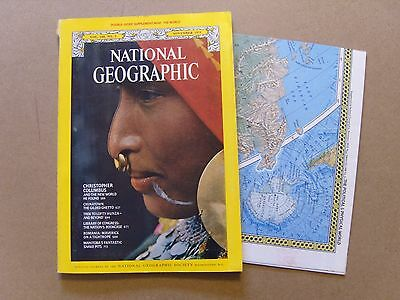 National Geographic Magazine - November 1975 - Double Sided World Map Included