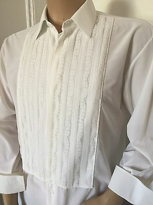 White Embroidered Lace Dress Shirt Cavalry Club Vtg Formal Tux 44in x 16in Large