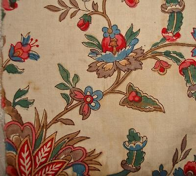 RARE FRAGMENT 18th CENTURY BLOCK PRINT FRENCH INDIENNE TOILE DE JOUY, REF c1790