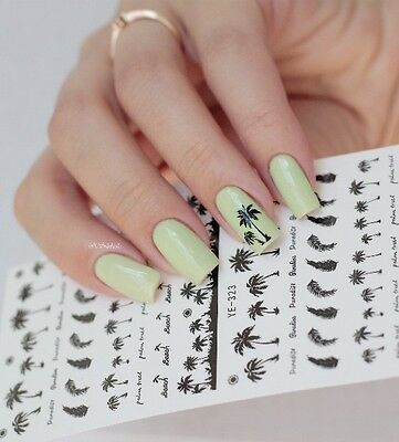 Coconut Trees Water Decals Summer Theme Nail Art Transfer Stickers Decoration