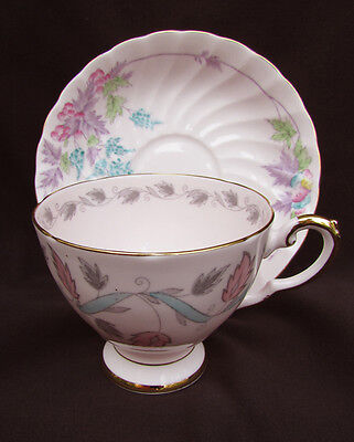 Tuscan pink porcelain cup saucer flowers leaves gold accents England china
