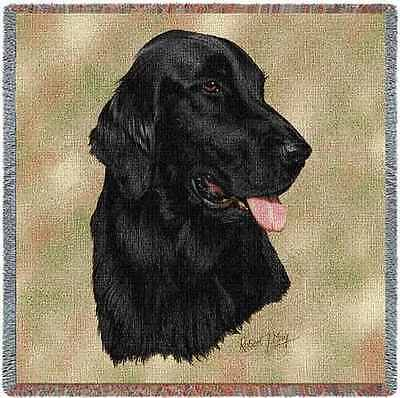 Lap Square Blanket - Flat-Coated Retriever by Robert May 1937