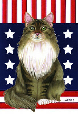 Large Indoor/Outdoor Patriot (TP) Flag - Grey/White Maine Coon Cat 77002