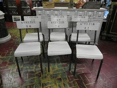 Group Of 6 Belle Chairs Bistro Tables French Lacquer Grey Powder Atelier Fey