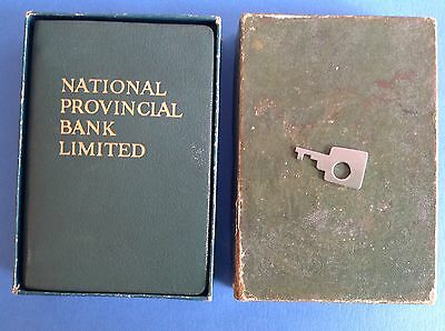 VINTAGE NATIONAL PROVINCIAL BANK SAVINGS MONEY BOX BOOK SAFE with KEY-coins/note