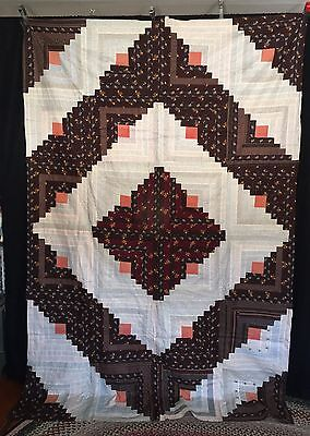 Antique C1880 Graphic Log Cabin Quilt Top Barn Raising Never Used