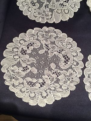 Beautiful Antique 12 pc Set French White Alencon Lace Cocktail Rounds Napkins