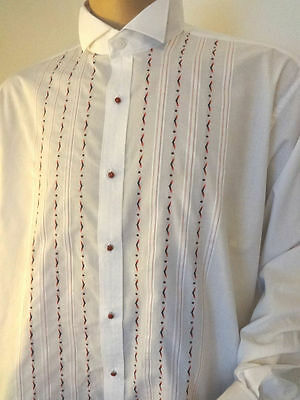 Embroidered White Wing Collared Tuxedo Dress Shirt Double Cuffs BNWT XXL