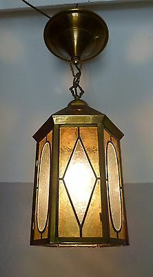 Vintage French Brass Ceiling Light / Lantern with Stained Glass Panels, Rewired