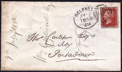 1856 1d RED STAR (OE) WITH BELFAST IRISH SPOON CANCEL ON COVER TO PORTADOWN