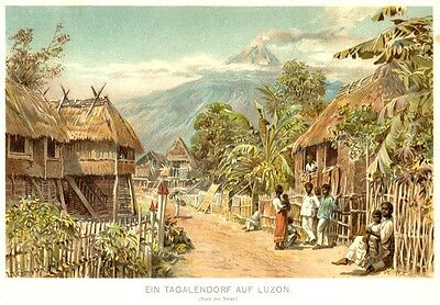 Luzon, Philippinen, Tagalen - Dorf, Vulkan Mayon?, Chromolithographie ca. 1890